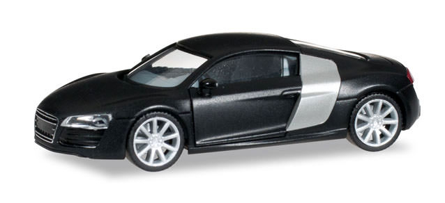 herpa audi r8 mattschwarz mit chromfelgen. Black Bedroom Furniture Sets. Home Design Ideas